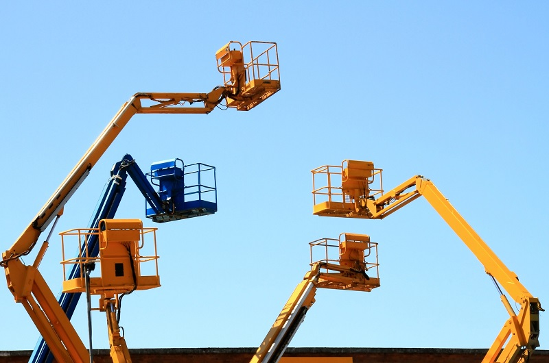 A Bunch of Aerial Platforms at a Jobsite
